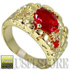 Oval Shape Ruby Red Stone Gold Ep Mens Nugget Ring