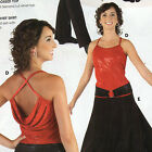 NWT RED FAUX SEQUIN Back Drape Camisole Child Ladies Ballroom Top w/ black belt