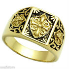 No Stone Templar Knight Gold Plated Mens Ring