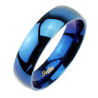 Stainless Steel Blue Glossy Mirror Polished 6mm or 8mm Band Ring Size 5-13