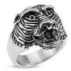 Stainless Steel Detailed 3D Tiger Head Ring Size 9-14