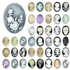 DIY Flatback Vintage Oval Lady Portrait Character Cameo Resin Cabochons Colorful