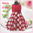 R3118A Red Girl Polkadotz Christmas Bridal Flower Girls Dress SZ 2,3,4,5,6,7,8,9