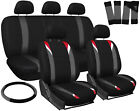 Seat Covers for Cars Red Gray Black 17pc Set w/Steering Wheel/Belt Pad/Head Rest