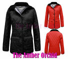 New Ladies Nautical Lining Diamond Quilted Button Womens Jacket Coat Sizes 8-16