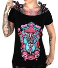 TOO FAST TATTOO ROCKABILLY SKELETON TWINS GOTHIC PUNK EMO PIN UP BOW SHIRT M L