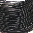 1mm Black Waxed Cotton Cord Thong Jewellery Making Thread String 10 to 60 Metres