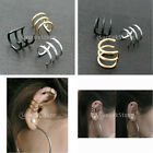 2 x Cartilage Clip On 3-Closure Ear Cuff  Wrap Earrings No Piercing punk Gothic