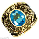 Military US Navy Aqua Marine CZ Gold Plated Mens Ring