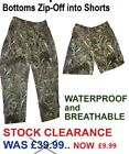 Camo WATERPROOF *ZIP-OFF* TROUSERS for Fishing, Leisure (RRP £39.99) NOW £15!!