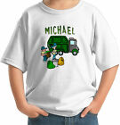 GARBAGE TRUCK WITH MEN PERSONALIZED KIDS T-SHIRT DISPOSAL RRR white grey