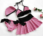 NWT 4PC Girls Pink Polka Dots Swimsuit Cute Kids Bathing Suit Swimwear SZ 2-10
