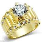 4ct Round Cut Clear CZ RX Band Gold EP Engagement Solitaire Ladies Ring