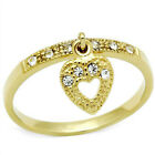 Ladies Moving Heart With Clear Crystal Stones 18kt Gold Plated Ring