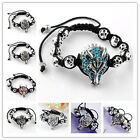 1pc Crystal MEN's Wolf Head alloy Beads Bracelet adjust Macrame PUNK Cool gothic
