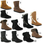 New Ladies Casual Winter Military Long Ankle Zip Furry Boots Sizes 3 4 5 6 7 8