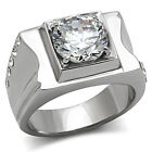Mens 10 mm Round Cut CZ Stone Stainless Steel Ring