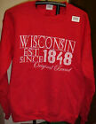 New WISCONSIN Est Since 1848 Red & White Sweatshirt Badgers Adult S & L