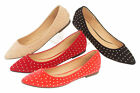 Ladies Casual Flat Studded Women Dolly Slippers Loafers Slip On Pumps Shoes 3-8