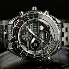 INFANTRY Mens Digital Quartz Wrist Watch Sport Army Chronograph Stainless Steel