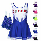 Cheeky School Cheerleader Girl Party Costume Uniform w/ Pom Poms 6 Colors 4 Size