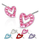 Surgical Steel Multi Paved Heart Outline Ferido Stud Earring