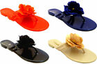 Ladies Casual Flat Jelly Flower Summer Beach Sandals Toe Post Flip Flops Shoes