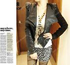 Punk Women PU Leather Pad Stud Spike Shoulder Cropped Jacket Biker Coat