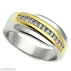 Ladies Two Tone Annyversary Pave Stainless Steel Ring New