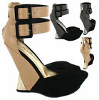 Ladies Anne Michelle High Wedge Ankle Strap Zipped Back Platform Sandals Shoes