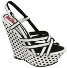 Ladies DOLCIS High Wedge Black White Polka Dots Platform Strappy Sandals Shoes