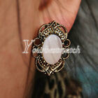 HOT Retro Vintage Bronze Hollow Flower Rhinestones Gem Stone Ear Studs Earrings