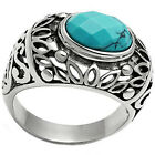 Antique Design Turquoise Stone Silver Stainless Steel Mens Ring