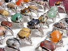 FREE Wholesale mixed Lots jewelry Assorted Natural stone silver P Noble Rings