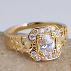 Men Fashion Yellow Gold Plated Ring Oval Stone 2-line Tiny Stones Size
