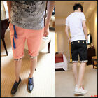 Mens Floral Cuff Zipper Pockets Casual Shorts Short Pants Summer Shorts 6 colors