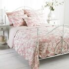 Luxury Quilted Canterbury Tales  Pink Bedspread Comforter 100% Cotton Throw