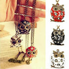 Fashione Retro Vintage Cute Lovely Rhinestone Owl Pendant Long Necklace 3 Colour
