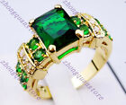Jewelry Popular New Green Emerald Ring sz6/7/8/9/10 10KT yellow Gold Filled free