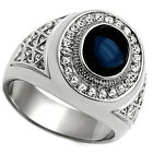 Dark Blue Dome Stone Silver Stainless Steel Mens Ring