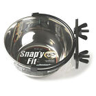 Stainless Steel Snapy Fit pet Water or Feed Bowl dish attaches to crate 4 sizes