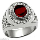 Mens Red Dome Stone Silver Stainless Steel Ring