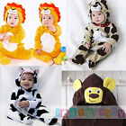 Baby Animal Romper Playsuit Outfit Fancy Dress Costume Lion Dog Cow Monkey