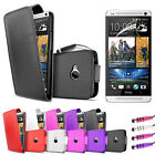 Leather Flip Case Cover - New HTC One 2013 + Screen Protector