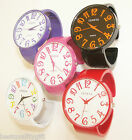 NEW-GENEVA OVERSIZED PINK,WHITE,BLACK,RED,PURPLE S/STEEL BANGLE,CUFF WATCH