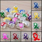 Heart-Shaped Wholesale Lots Mixed Color Ribbon Big Hole Charms Bead 10/20/50 PCS