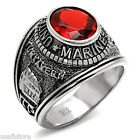 Mens Siam Red US Marines Military Silver Stainless Steel Ring