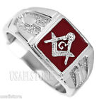 Mens Square Red Masonic Mason Rhodium EP Ring New