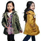 Girls Trench Coat Wind Jacket Baby Dress Kid Clothing Outwear 1-PC Outfit SZ 4-9