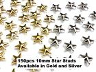 150 Metal 10mm STAR Head Studs for Punk, Rock Goth Biker Fashion DIY STUD CRAFT